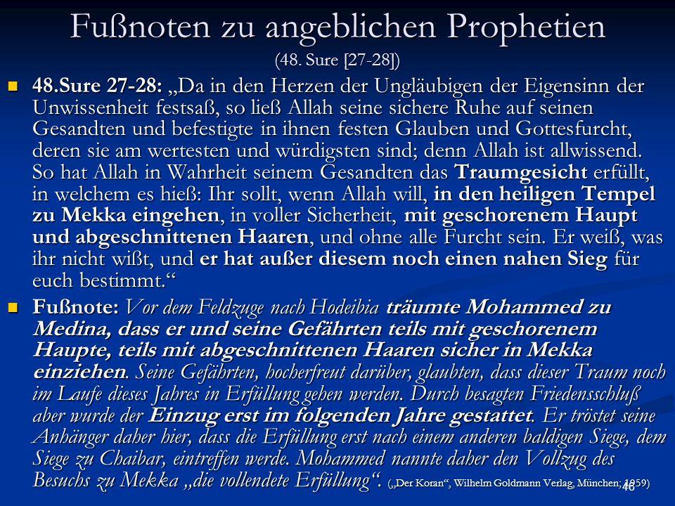 Fußnoten zu angeblichen Prophetien (48. Sure [27-28])